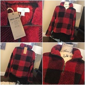 Thread & Supply Red Buffalo Plaid Pullover Fleece